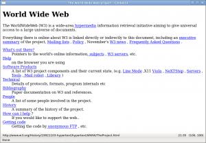Immagine del primo sito web della storia